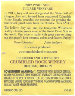 Back label of the Crumbled Rock 2012 Pinot Noir from Juliard Vineyard