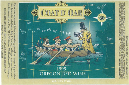 An example of an Erath wine label circa 1995.