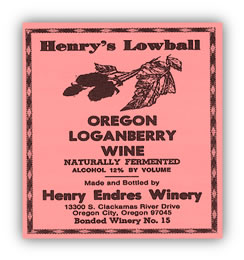 Henry's Lowball Oregon Loganberry Wine
