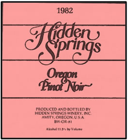 Hidden Springs Winery 1982 Oregon Pinot Noir label