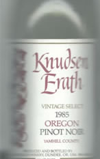 Knudsen Erath 1985 Oregon Pinot Noir label