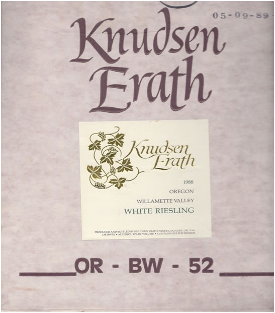 An example of printing and labeling on a Knudsen Erath box of wine circa 1988.