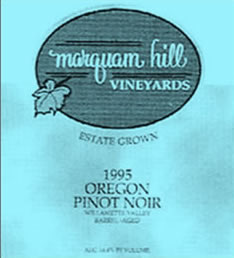Marquam Hill Vineyards 1995 Oregon Pinot Noir