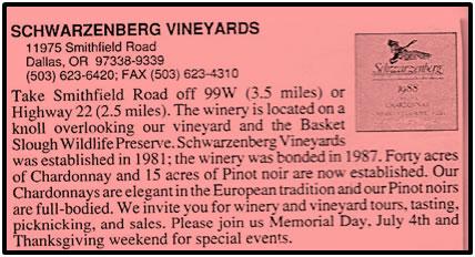 Schwarzenberg Vineyards (1981-1989)