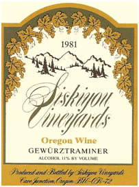 Siskiyou Vineyards 1981 Oregon Gewurztraminer