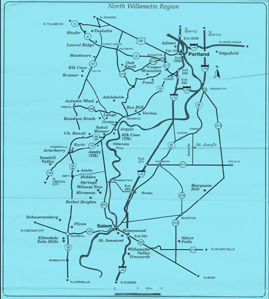 Early North Willamette Region Map